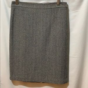 Herringbone wool pencil skirt.